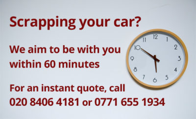 Scrap your car within the hour Elmers End